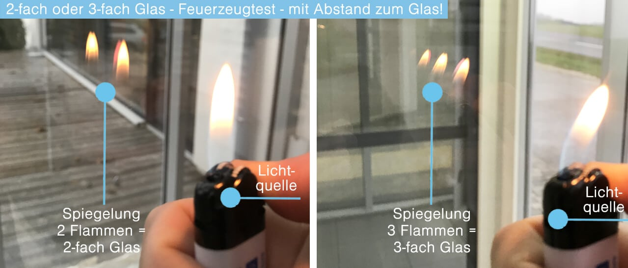 2-fach Glas oder 3-fach Glas Test-Feuerzeug