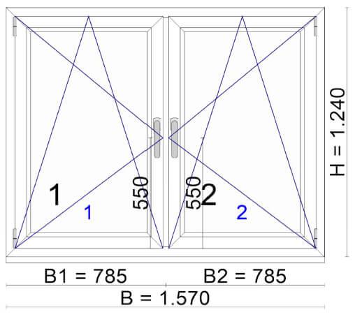 2-flügeliges Fenster 1600x1300mm