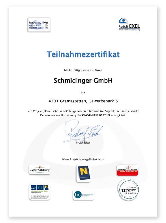 Bauanschluss Zertifikat