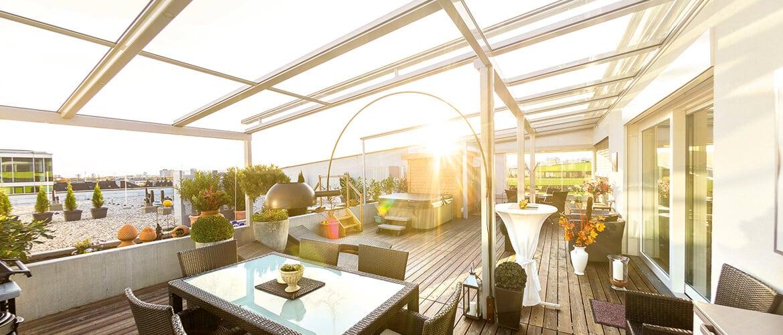 Großflächige Terrassenverglasung