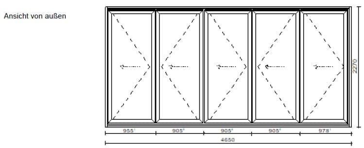 5 Teilige Faltwand Wohnbereich