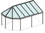 Satteldachwintergarten und vorne in Eckausführung - Pavillondach