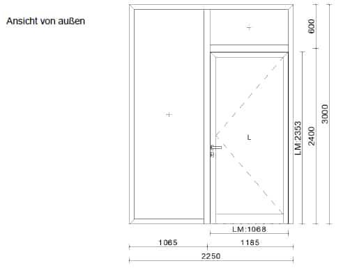 Alu Haustüren mit Seitenteil - Planung