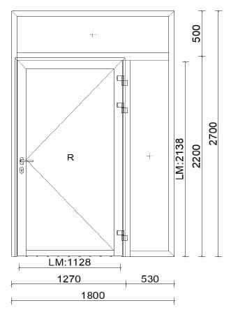 Alu Türe mit Oberlichte und Seitenteil