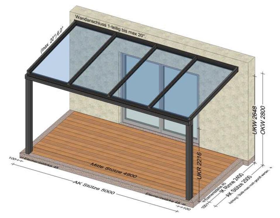 Alu-Überdachung 5x2,5 Meter - Planung