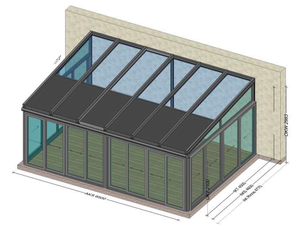 Alu-Wintergarten mit Schiebe-Glas