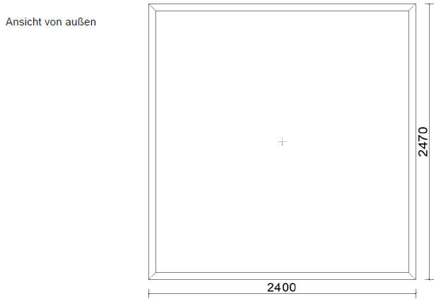 Aluminium-Festverglasung 2400 x 2470