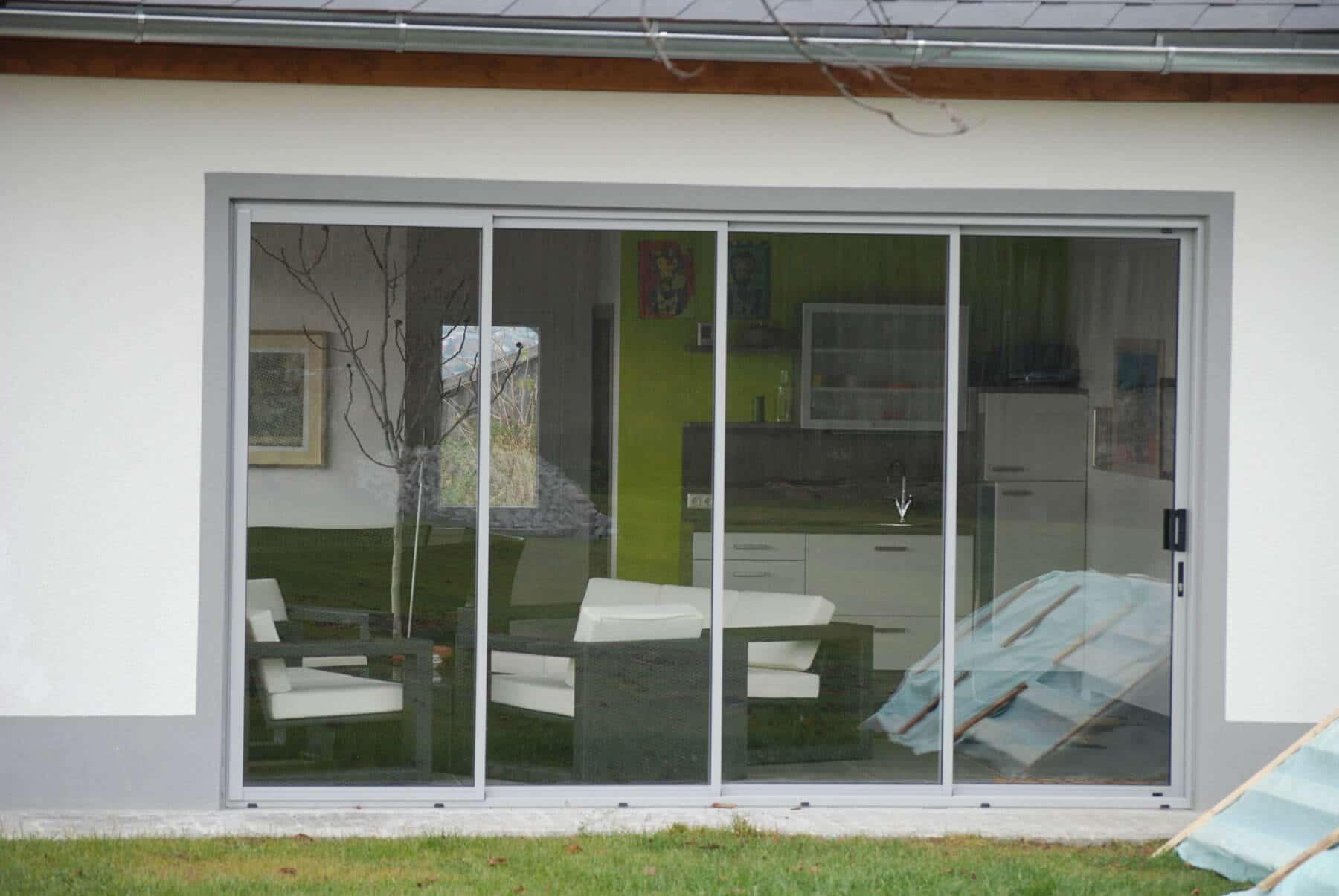 Schiebetür Terasse sunflex faltelemente in grau für balkon fenster schmidinger
