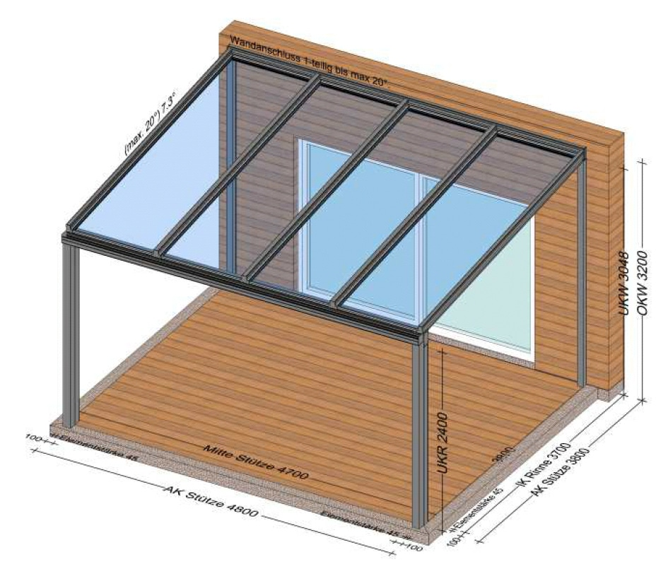 Aluminium Terrassendächer mit Echtglas VSG