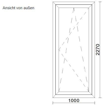 Aluminium-Terrassentüre anthrazit - Skizze