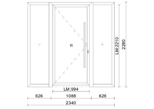 Planungsbeispiel Aluminium-Türe 3-teilig mit links und rechts Seitenteil - Mass: 2340 x 2280 mm