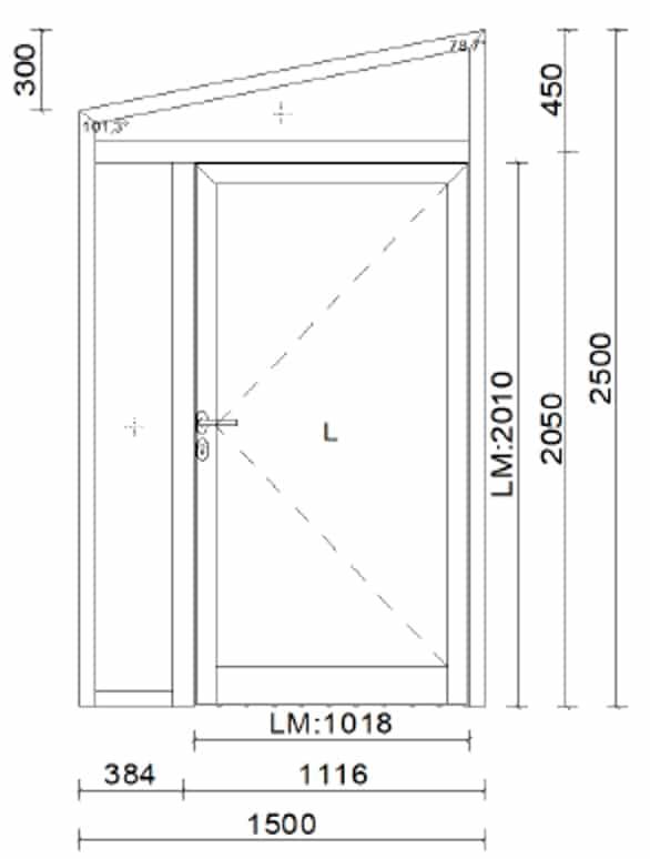 Aluminium Türe mit Oberlichte oben schräg
