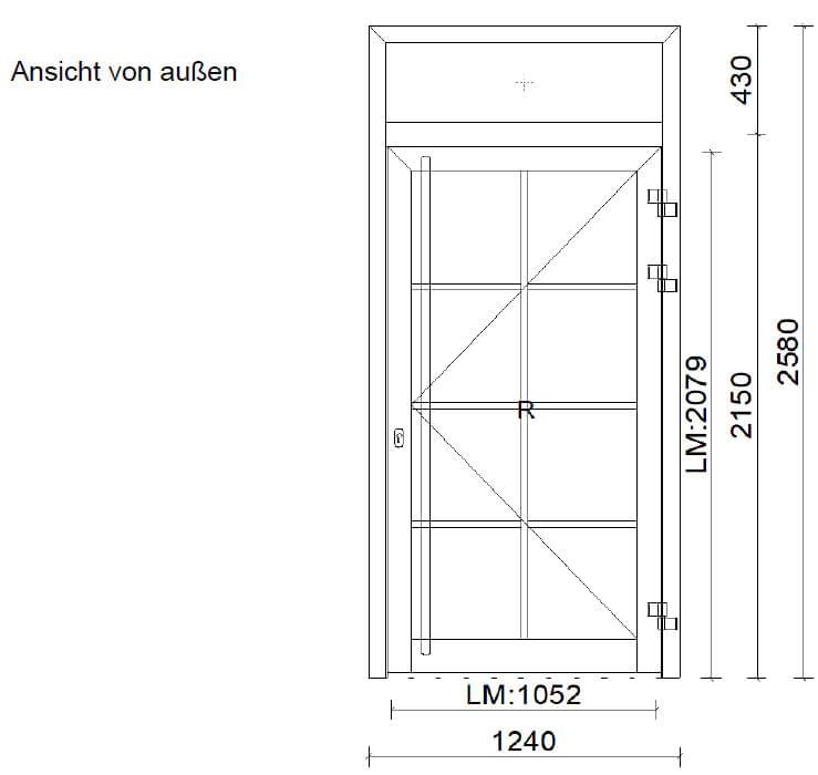 Aluminium-Türe mit Oberlichte und Sprossen
