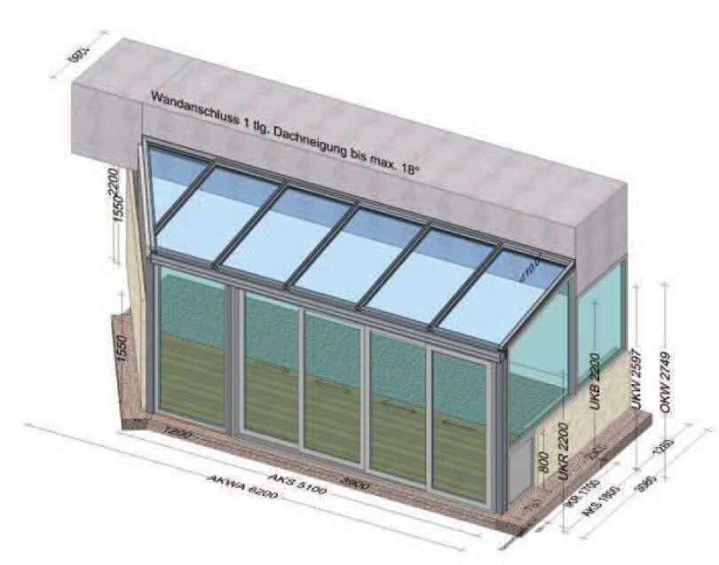Aluminium Wintergarten mit schrägem Seitenteil - Planung für Linz