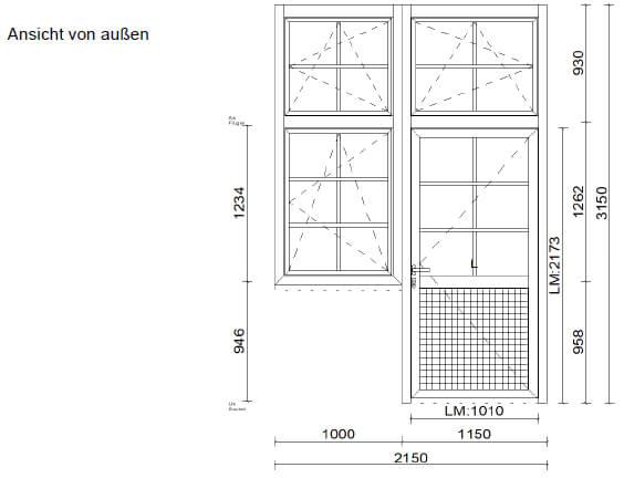 Alutüre gekoppelt mit Fenster