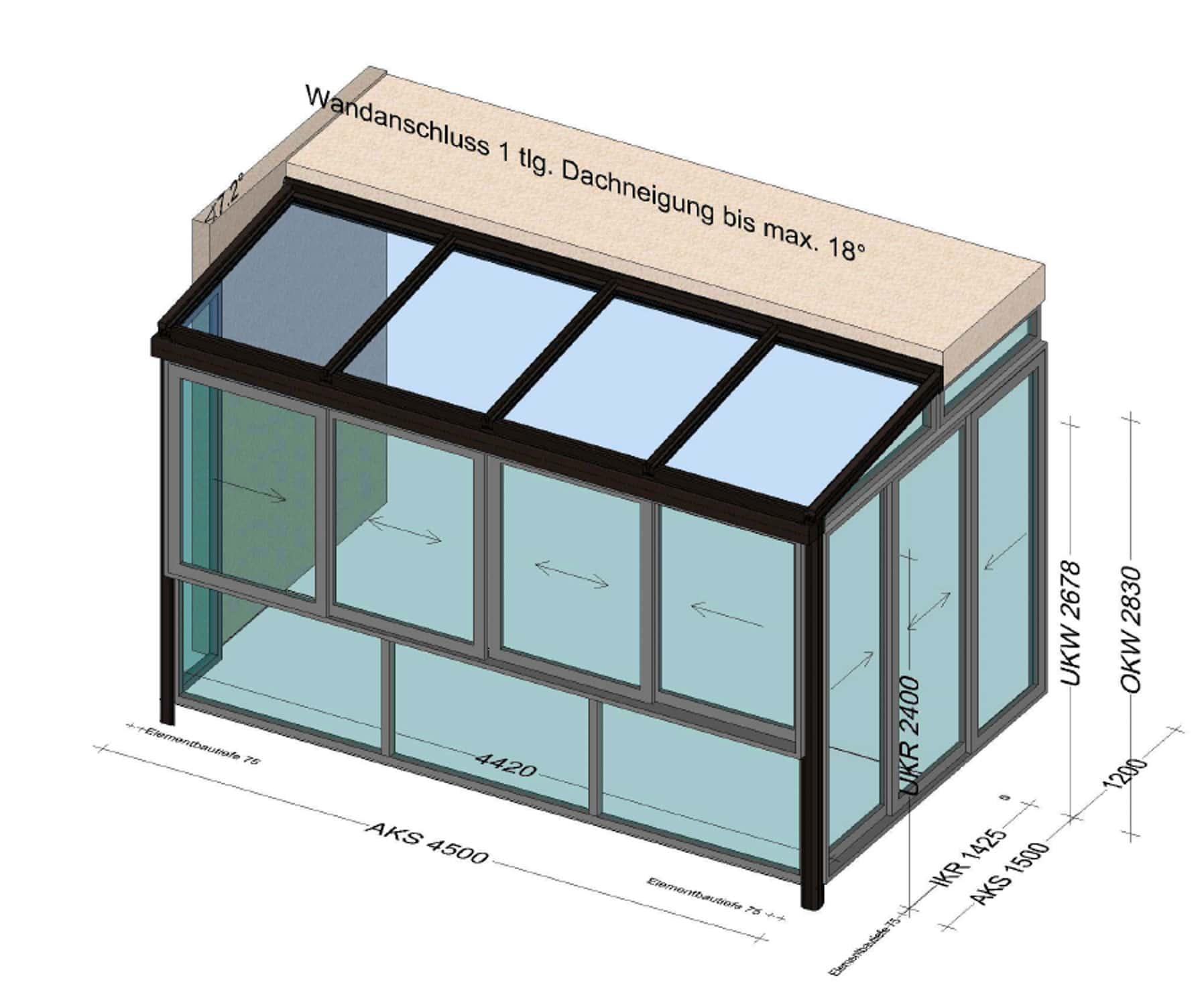 Balkon Wintergarten mit Dach Glas
