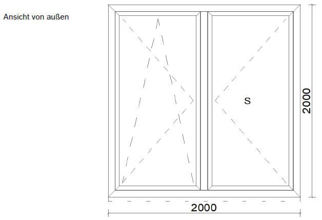 Balkontür 2-flügelig ohne Mittelpfosten