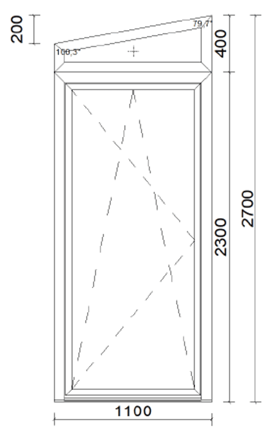 Balkontür mit Oberlicht - oben schräg