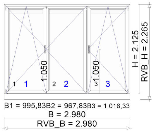 Balkontüre 3-teilig integrierte Jalousien