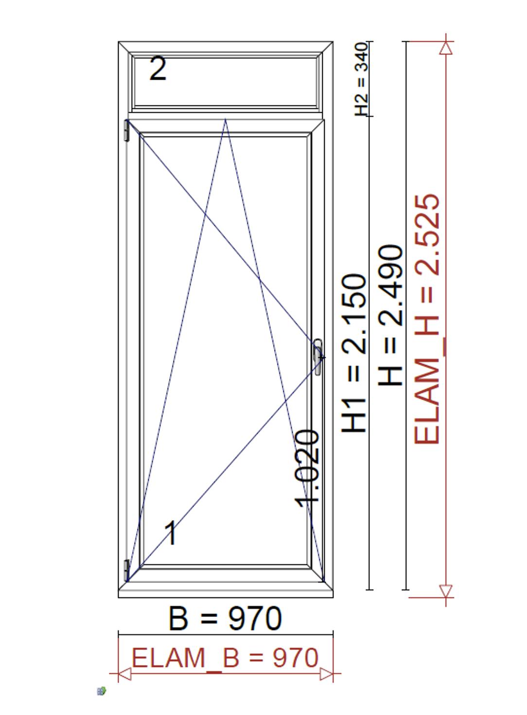 Balkontüre mit Oberlicht