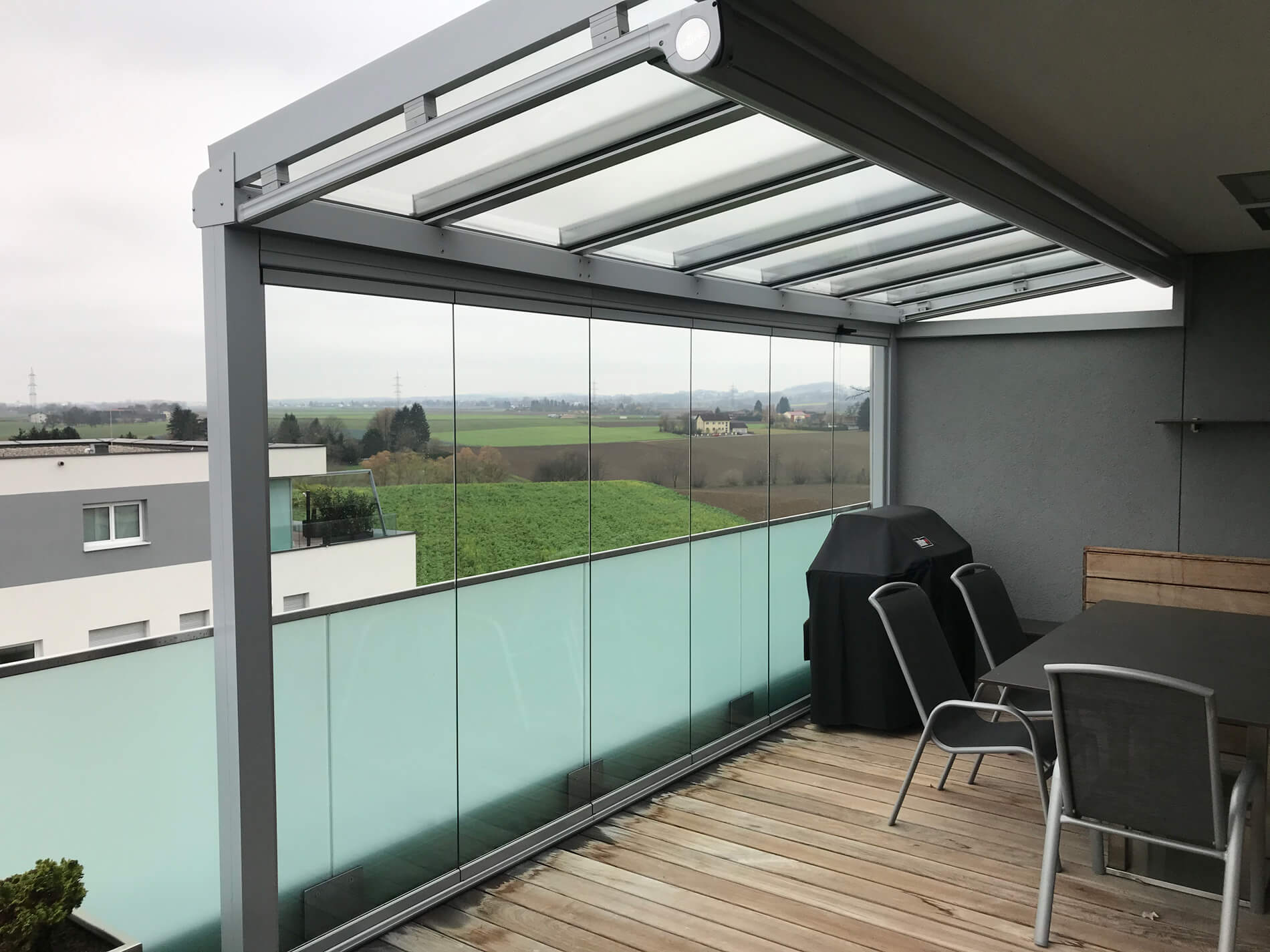 Balkonüberdachung Glas - Material Alu