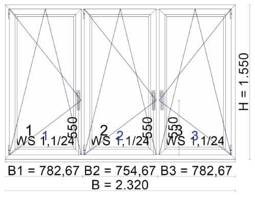 Balkonverbau Fenster PVC - 3-teilig