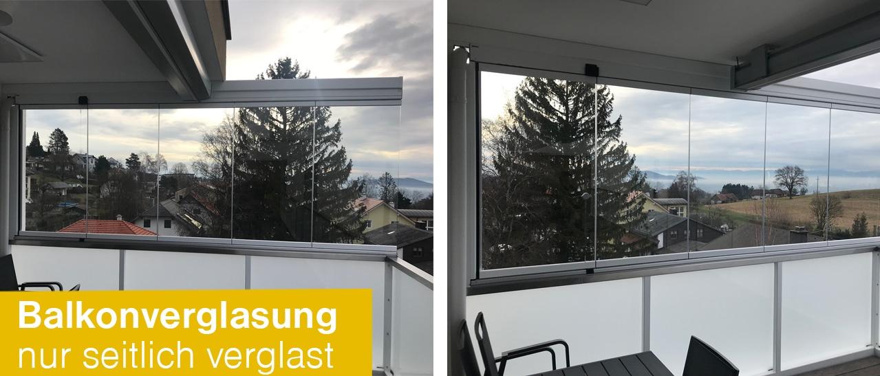Balkonverglasung nur seitlich verglast
