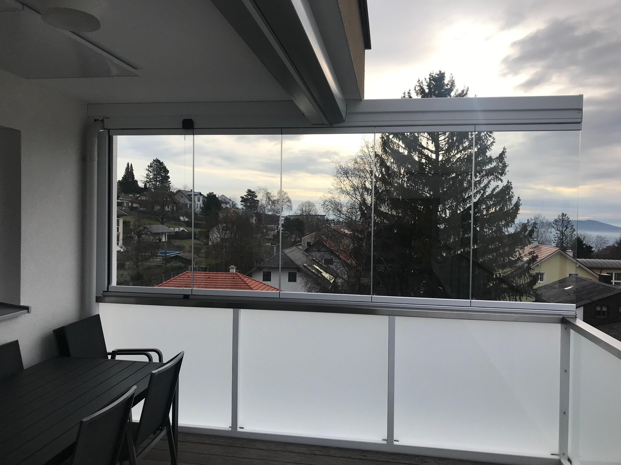 Balkonverglasung Windschutz faltbar