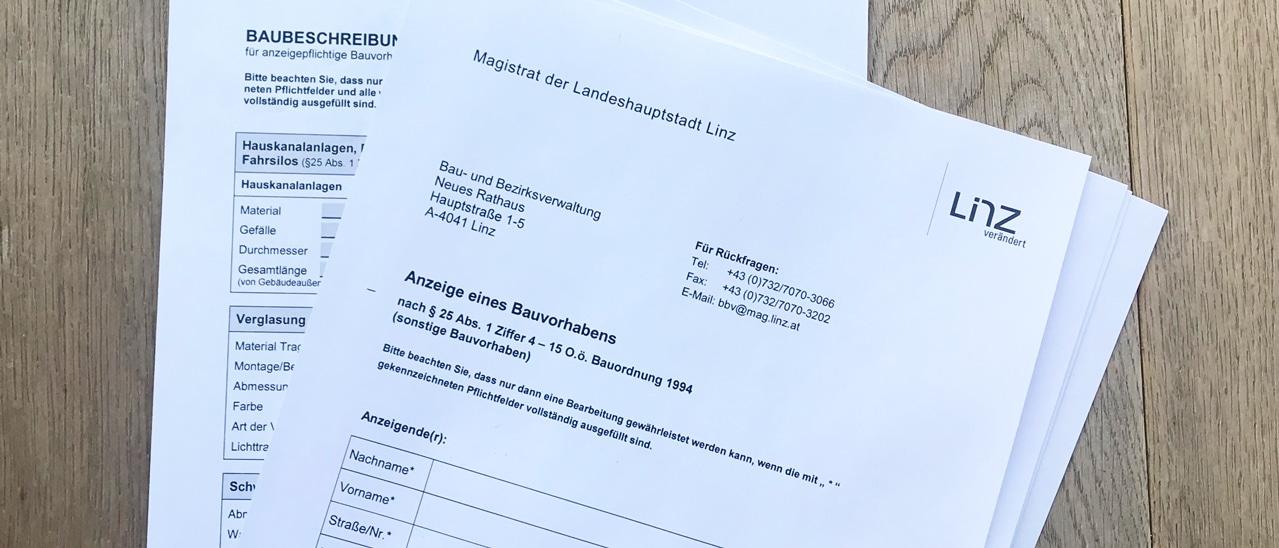 Baugenehmigung Bauanzeige Balkonverglasung Wintergarten in Linz