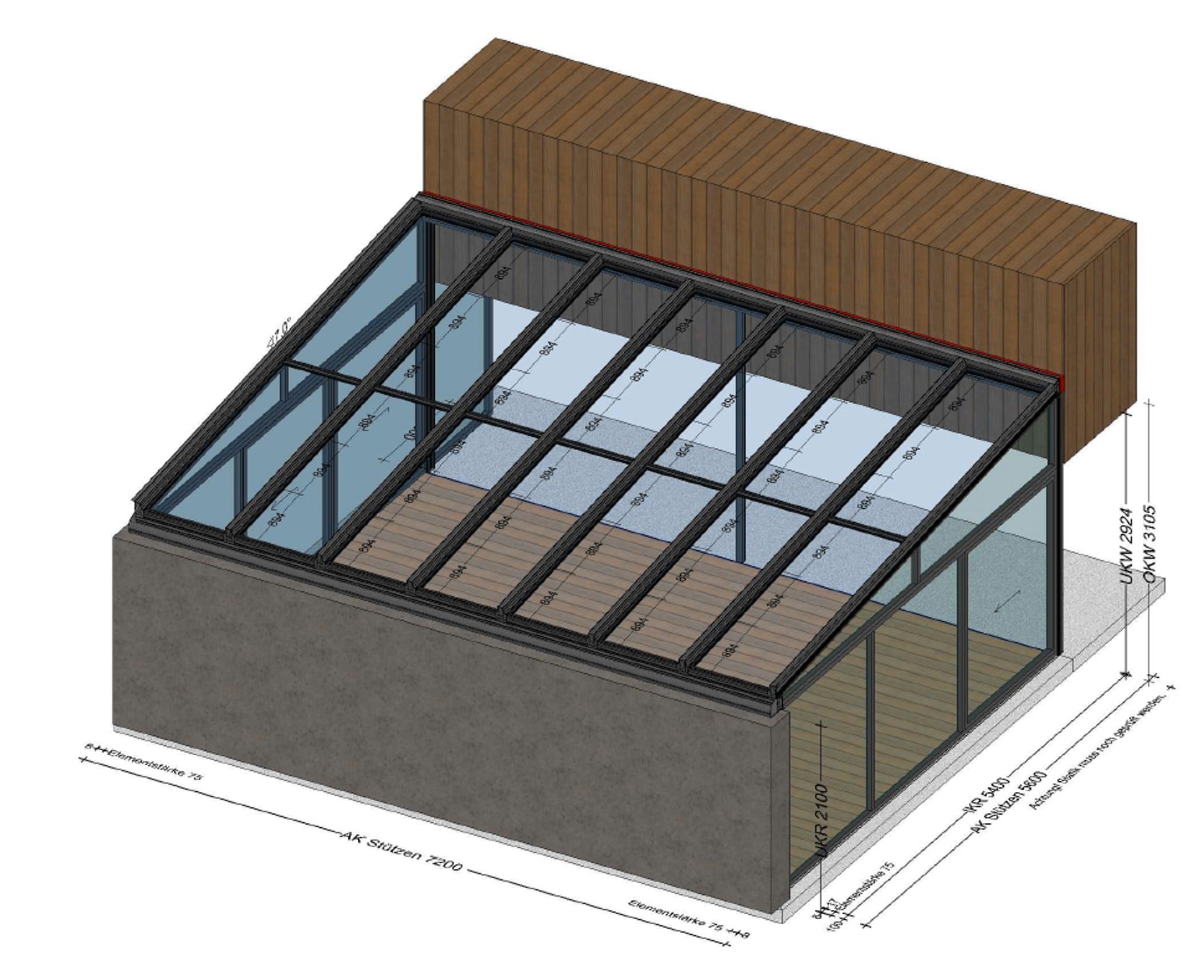 Beheizter Wintergarten für Indoor-Pool