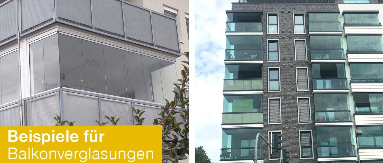 Beispiele für Balkonverglasungen