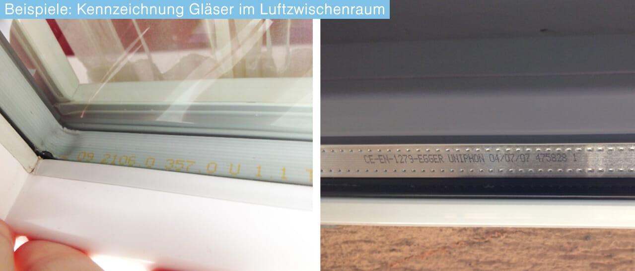 Beispiele Kennzeichnung Gläser im Luftzwischenraum