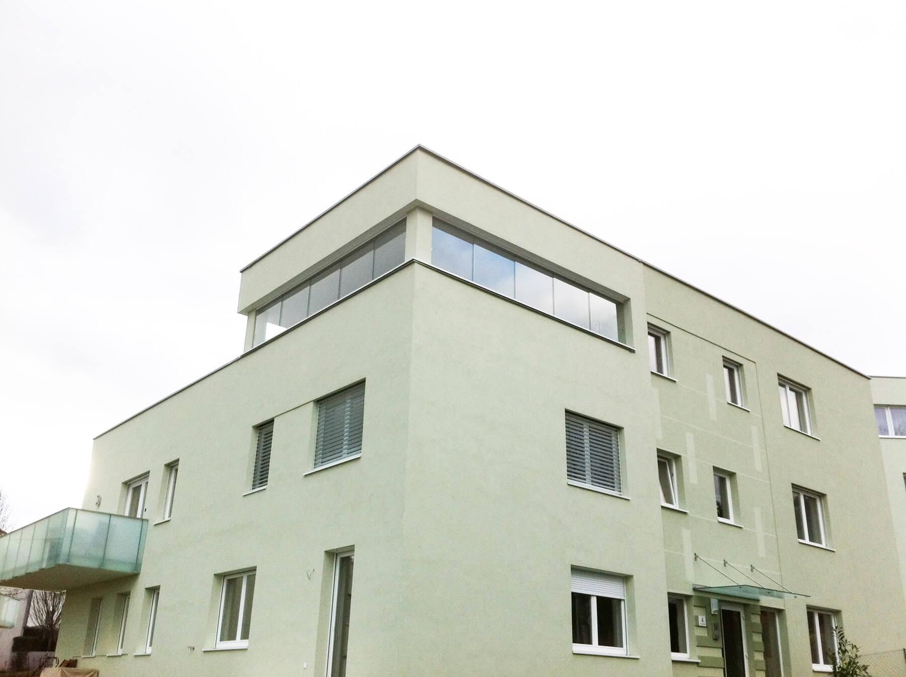 Dachterrasse Windschutz Glas