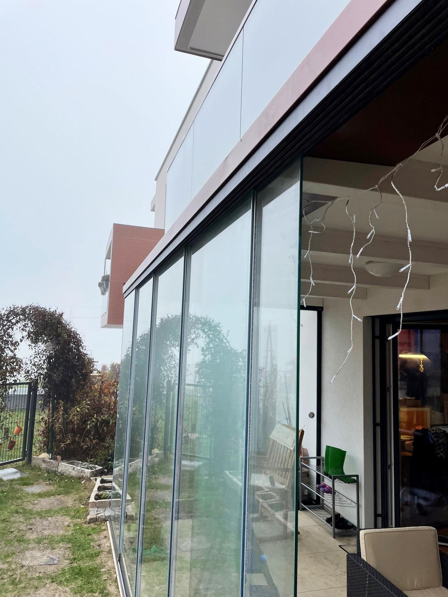 Detail Glasschiebewand Schienen für Terrassenverglasung