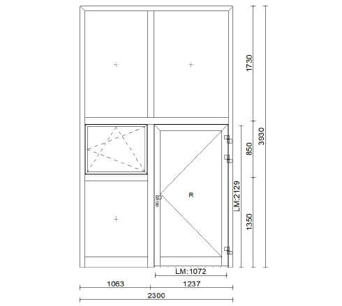 Planungsbeispiel Eingangsportal Firmengebäude Sondermaß