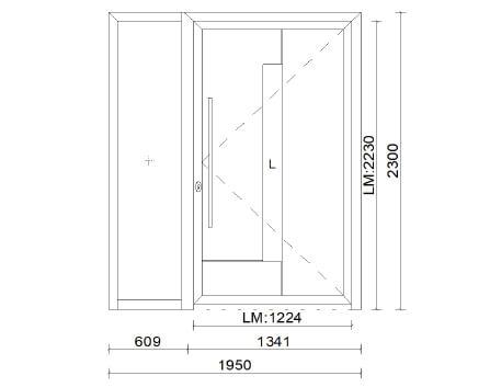 Planungsbeispiel Eingangstür für Einfamilienhaus aus Aluminium mit Seitenteil