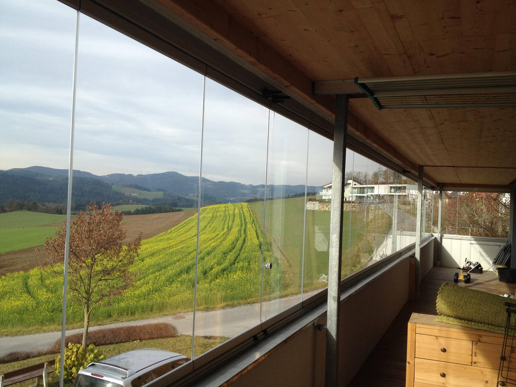 Faltschiebefenster mehrteilig für Balkon