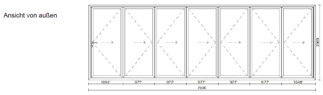 Falttür mit 7 Flügen für Außenbereich