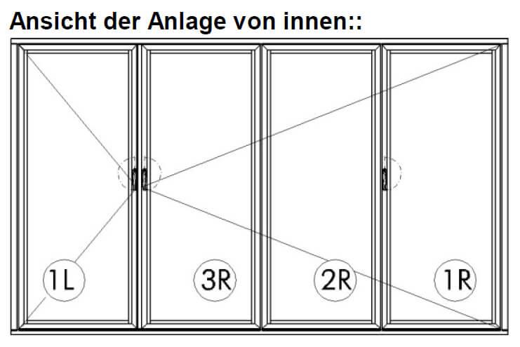Falttüre Holz 4-teilig für Außenbereich