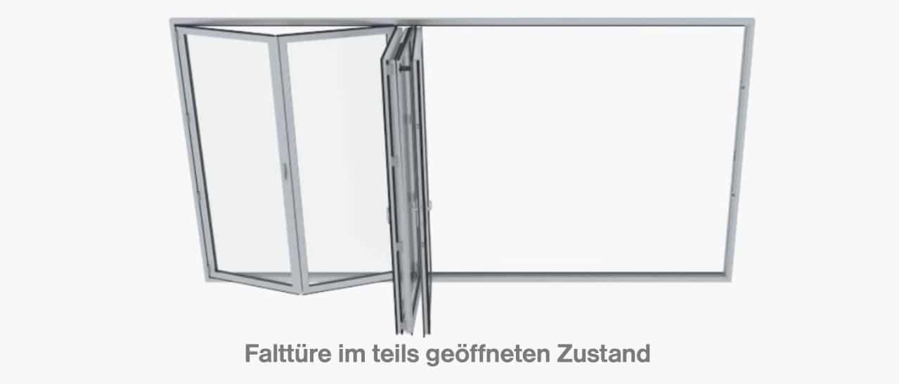 Falttüre im teils geöffneten Zustand