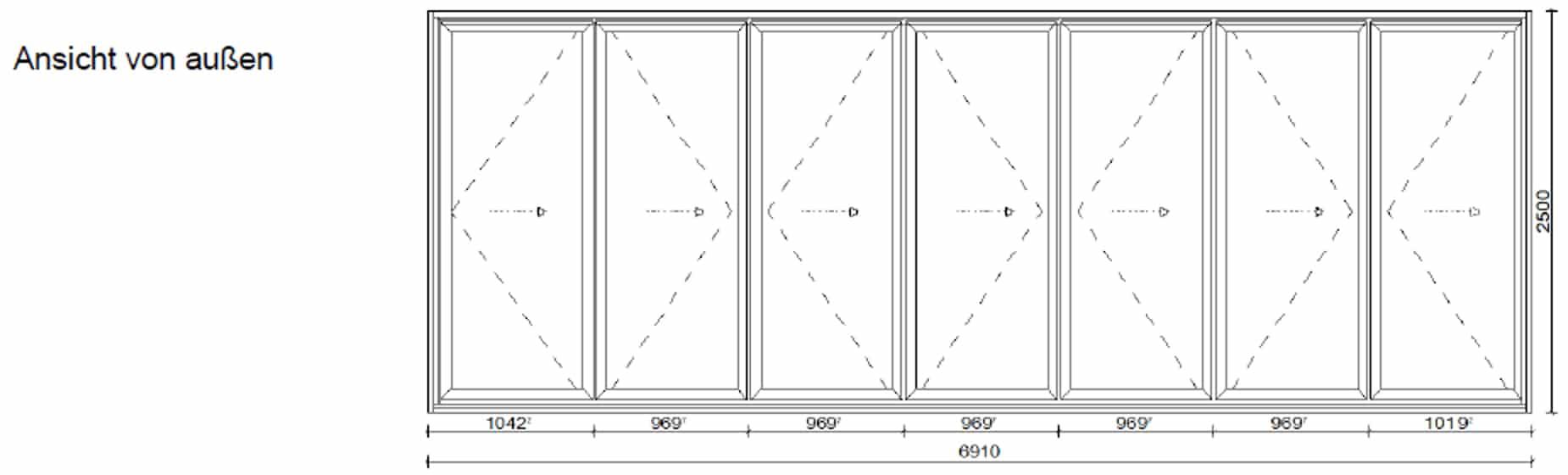 Falttüren 7 Flügel nach innen oder außen öffnend