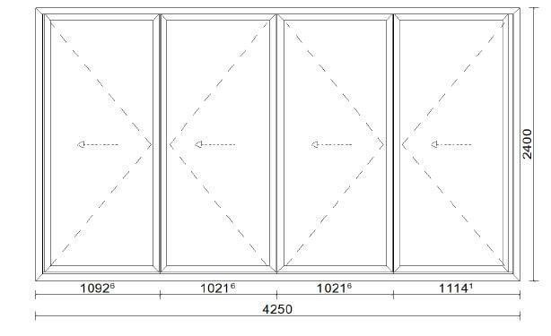Planungsbeispiel Faltwand 4-flügelig aus Aluminium mit Isolierglas - Maß: 4250 x 2400 mm