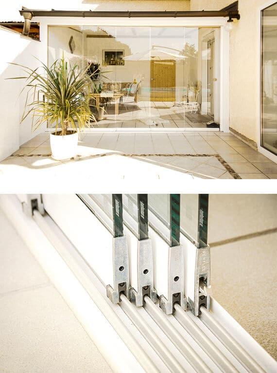 Terrasenverglasung mit Schiebeelementen