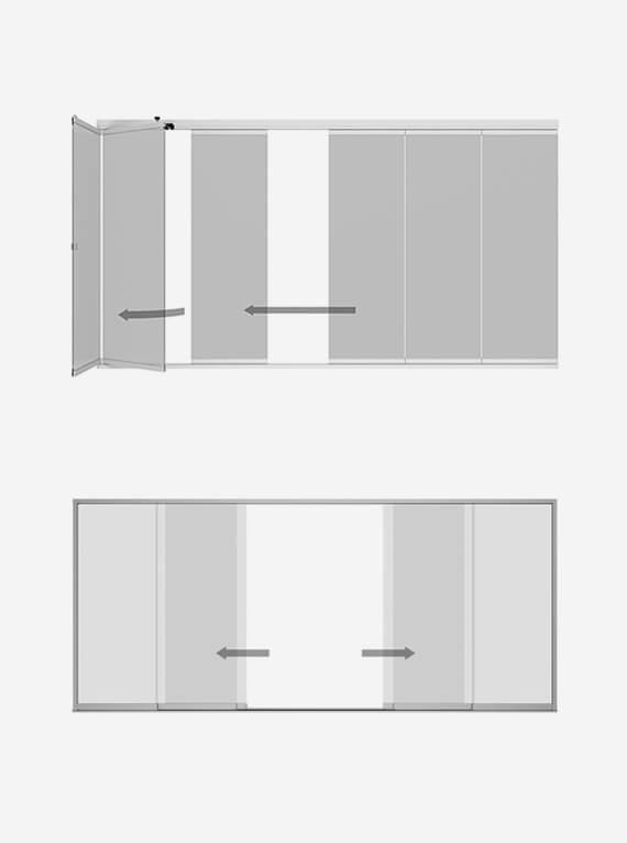Schematische Skizze Öffnung Glastüren