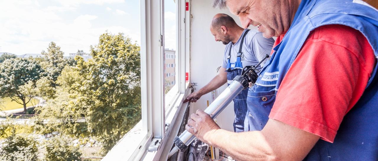 Neue Fenster im Altbau montiert