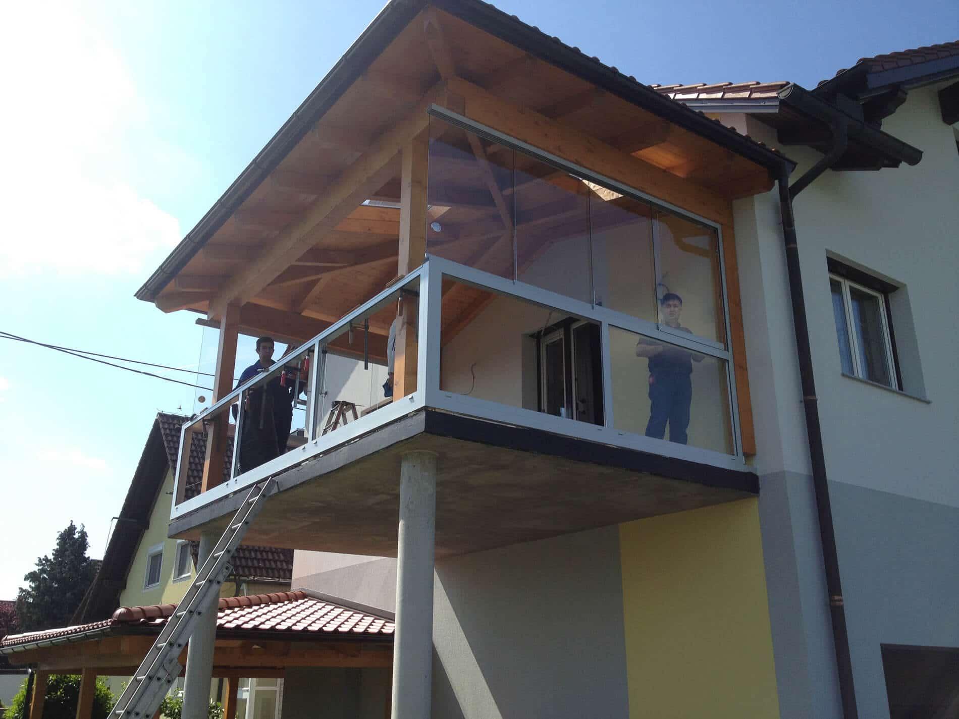 Ganzglas-Schiebesystem Balkon