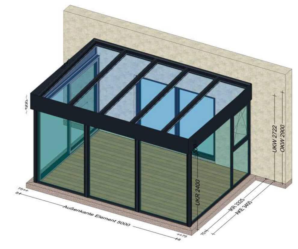 Ganzjahreswintergarten Aluminium Glas - hochwärmedämmend