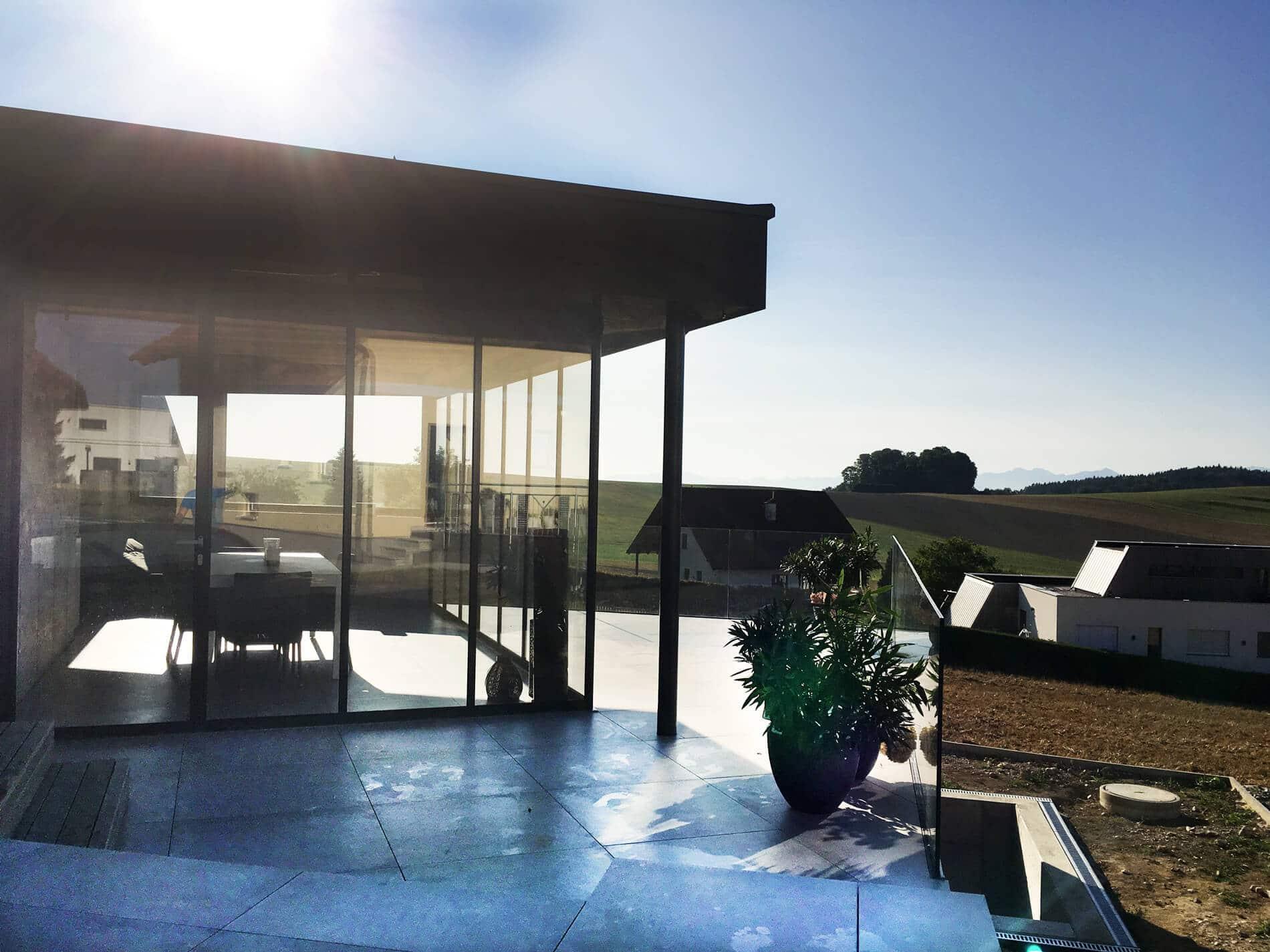 Gartenhaus Glas Schiebe-Drehtüren