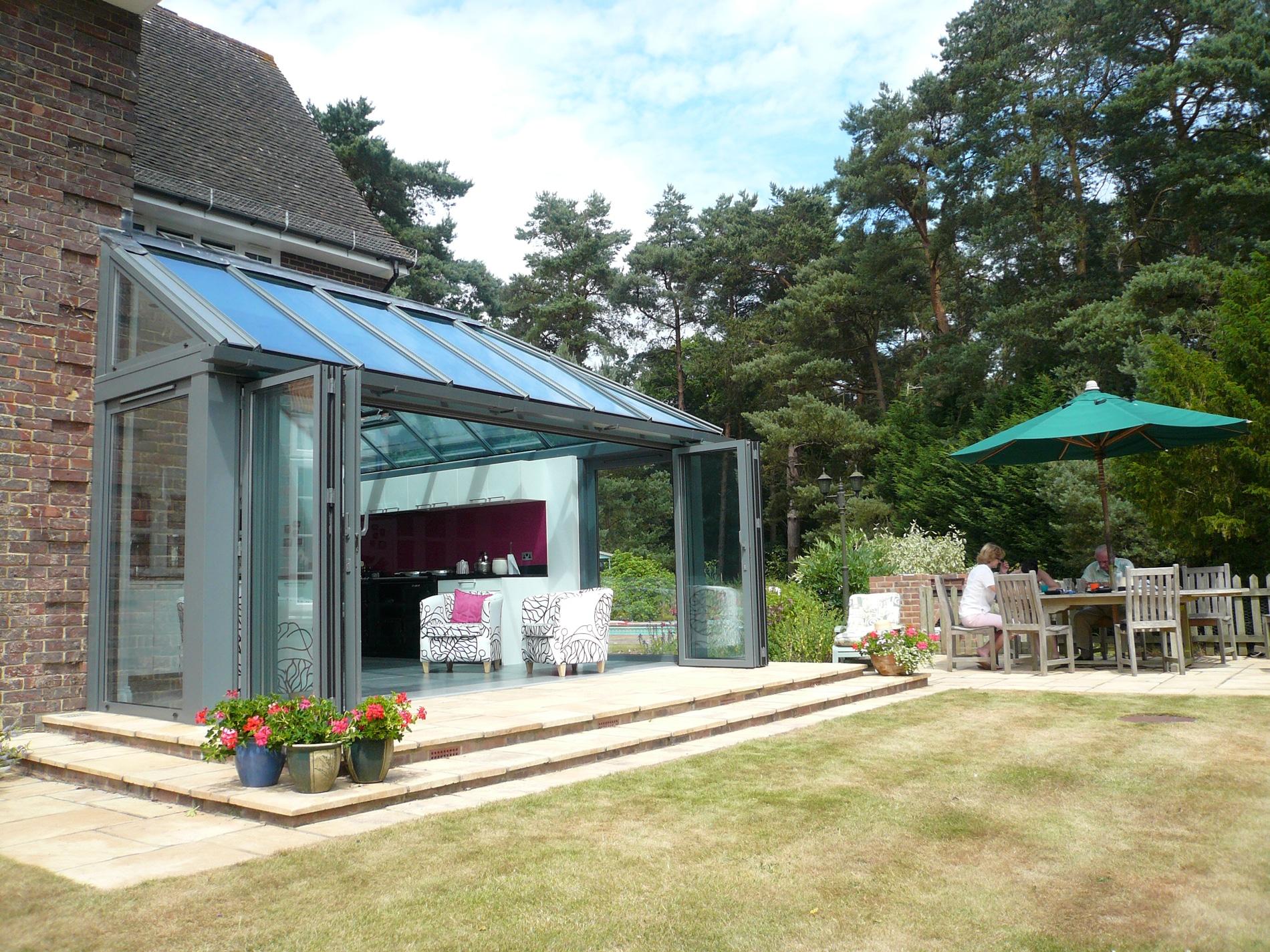 Glas Faltwände Sunflex für Wintergarten