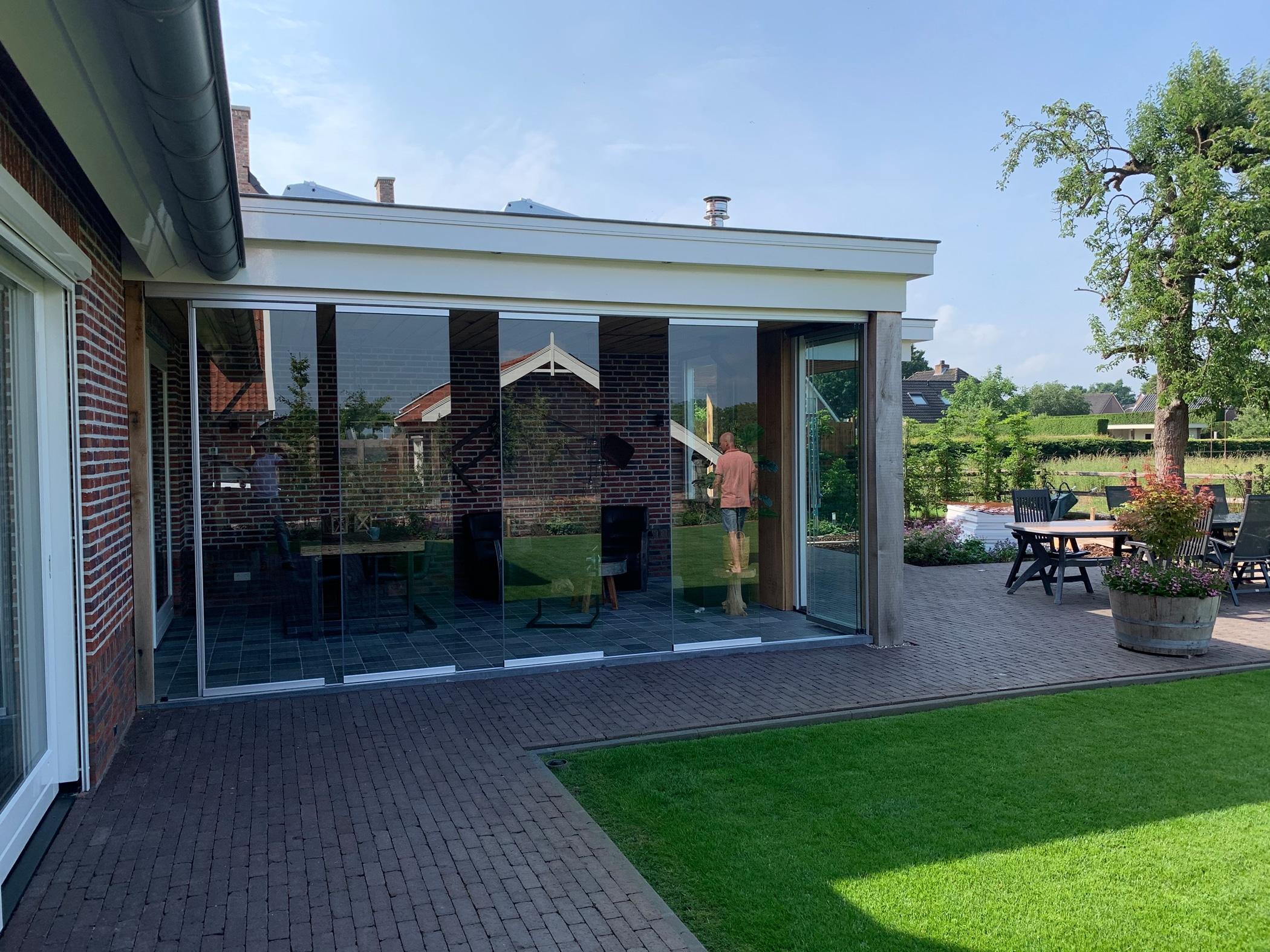 Glas Schiebe Dreh Türen - Terrasse winterfest machen